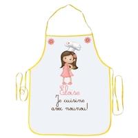 Tablier enfant Je cuisine avec nounou personnalisé avec prénom