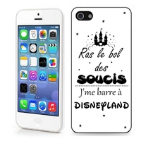 Coque iphone 4/4S 5/5S 6, 7, 8, X, XS, XR ou SE Humour J'me barre à disneyland