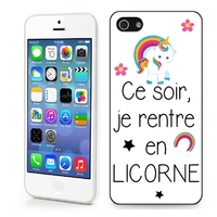 Coque iphone 4/4S 5/5S 6, 7, 8, X, XS, XR ou SE Humour Ce soir je rentre en licorne