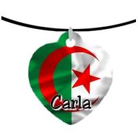 Collier pendentif coeur Drapeau Algérie personnalisé avec prénom