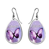 Boucles d'oreilles Papillon personnalisées avec prénom