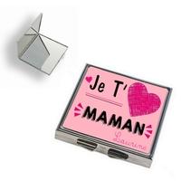 Miroir de poche Je t'aime maman personnalisé avec prénom en signature