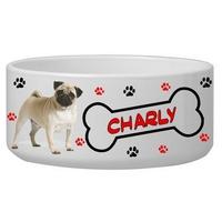 Gamelle pour chien Carlin personnalisée avec le nom de votre animal