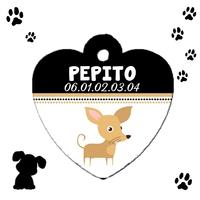 Médaille coeur pour Chien Chihuahua personnalisée avec nom et n° de téléphone