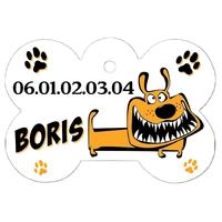 """Médaille pour chien """"Chien fou"""" personnalisée avec nom, numéro de téléphone"""