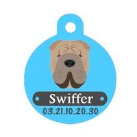Médaille pour chien Sharpei personnalisée avec nom, numéro de téléphone
