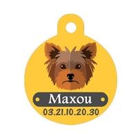 Médaille pour chien Yorkshire personnalisée avec nom, numéro de téléphone