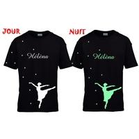 Tee shirt enfant noir phosphorescent Danse classique personnalisé avec prénom