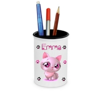 Pot à crayons Chat Beauté personnalisé avec prénom