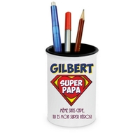 Pot à crayons Super papa personnalisé avec prénom