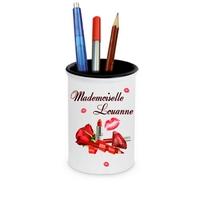 Pot à crayons Maquillage Glamour Mademoiselle personnalisé avec prénom