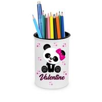 Pot à crayons Panda fille personnalisé avec prénom