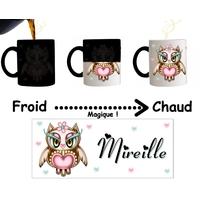 Mug tasse magique Chouette Owl personnalisé avec prénom