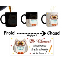 Mug tasse magique Instituteur le plus chouette personnalisé avec Nom du maître