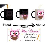 Mug tasse magique Institutrice la plus chouette personnalisé avec Nom de la maîtresse
