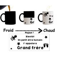Mug tasse magique Bientôt un petit être humain t'appelera Grand frère...