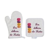 Gant et manique de cuisine Macarons personnalisé avec prénom