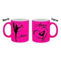 Mug tasse fluo céramique GRS Gymnastique personnalisé avec prénom