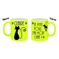 Mug tasse fluo céramique Je m'en fous, j'ai mon chat personnalisé avec prénom