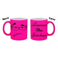 Mug tasse fluo céramique Humour Mme Gricheuse personnalisé avec prénom