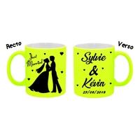 Mug tasse fluo céramique Mariage Just Married personnalisé avec prénoms et date
