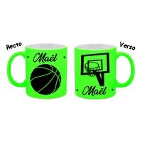 Mug tasse fluo céramique Basketball personnalisé avec prénom