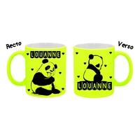 Mug tasse fluo céramique Panda personnalisé avec prénom