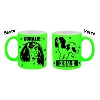 Mug tasse fluo céramique Cavalier king charles personnalisé avec prénom