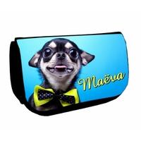 Trousse à maquillage noir Chien Chihuahua personnalisée avec prénom