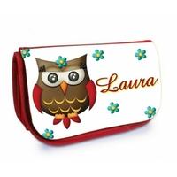 Trousse à maquillage rouge Chouette Owl personnalisée avec prénom