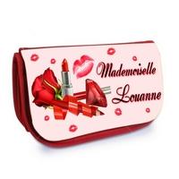 Trousse à maquillage rouge Mademoiselle personnalisée avec prénom