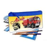 Trousse d'école plate Camion de pompier personnalisée avec prénom
