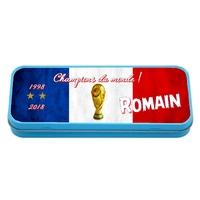 Plumier Boite à crayons Foot france Champions personnalisé avec prénom