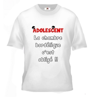 Tee shirt pour Adolescent Humour La chambre bordélique c'est obligé !!