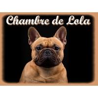 Plaque de porte en aluminium Chien Bouledogue français personnalisée avec texte au choix
