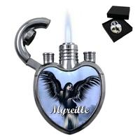 Briquet tempête gaz forme coeur Ange gothique personnalisé avec prénom