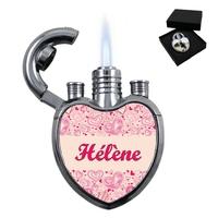 Briquet tempête gaz forme coeur Love personnalisé avec prénom