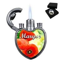 Briquet tempête gaz forme coeur Coquelicot personnalisé avec prénom