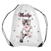 Sac piscine / gym chat chaton cat personnalisé avec prénom