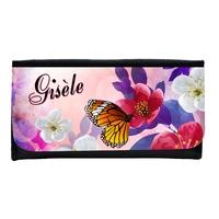 Portefeuille femme en simili cuir Fleur et papillon personnalisé avec prénom