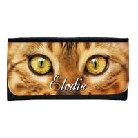 Portefeuille femme en simili cuir Chat personnalisé avec prénom