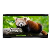 Portefeuille femme en simili cuir Panda roux personnalisé avec prénom