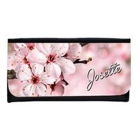 Portefeuille femme en simili cuir Fleurs personnalisé avec prénom