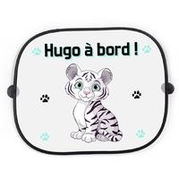 Pare soleil voiture Bébé à bord Tigre blanc personnalisé avec prénom