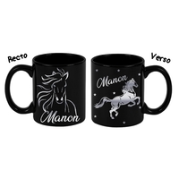 Mug noir céramique Cheval personnalisé avec prénom