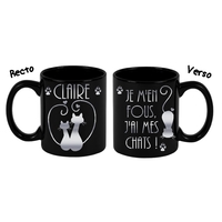 Mug noir céramique Je m'en fous, j'ai mes chats personnalisé avec prénom
