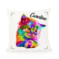 Coussin Chat chaton multicolor personnalisé avec prénom au choix