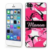 Coque iphone 4/4S, 5/5S, 6, 7, 8, X, XS, XR ou SE Camouflage rose personnalisée avec prénom