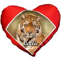 Coussin coeur Tigre personnalisé avec prénom au choix