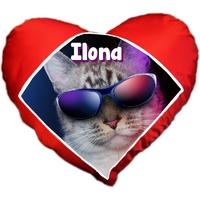 Coussin coeur Chat à lunettes personnalisé avec prénom au choix